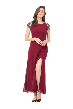 36ddd06ab2 Kazo Maroon Regular Fit Maxi Dress