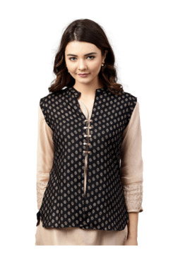 Jaipur Kurta Black Printed Shrug