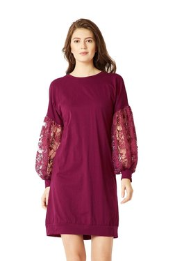 Miss Chase Magenta Cotton Lace Pattern Shift Dress