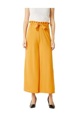 Miss Chase Yellow High Rise Flare Trousers