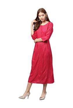 Jaipur Kurti Pink Printed A-Line Midi Dress