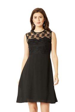 Miss Chase Black Lace Pattern Skater Dress