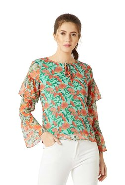 Miss Chase Orange & Green Floral Print Top