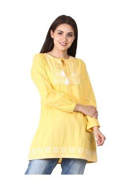 Aaboli Yellow Printed Cotton Short Kurti