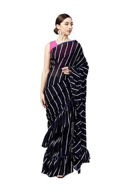 Inddus Navy Striped Ruffle Saree With Blouse