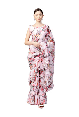 Inddus Pink Floral Print Ruffle Saree With Blouse