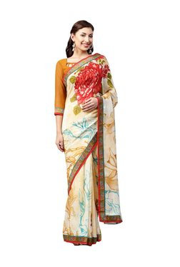 Inddus Beige Floral Print Saree With Blouse - Mp000000003850731