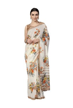 Inddus Off White Floral Print Linen Saree With Blouse