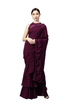 Inddus Burgundy Ruffle Saree With Blouse
