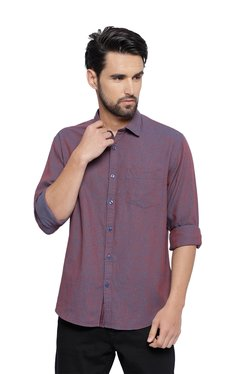 CAVALLO By Linen Club Maroon Full Sleeves Shirt