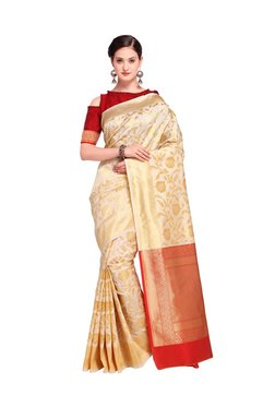 Inddus Cream Floral Print Saree With Blouse
