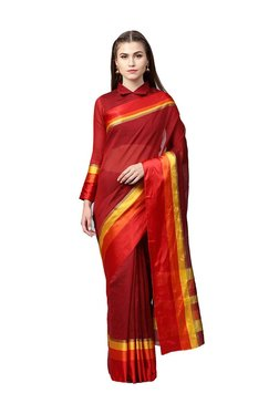 Inddus Maroon Saree With Blouse