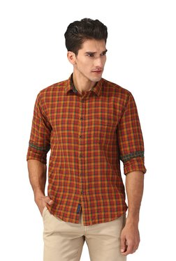 CAVALLO By Linen Club Red & Orange Checks Shirt