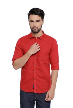 CAVALLO By Linen Club Red Solid Full Sleeves Shirt