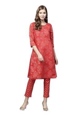 Juniper Red Printed Straight Kurta - Mp000000003854011