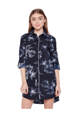 Oxolloxo Navy Floral Print Shirt Shirt Dress