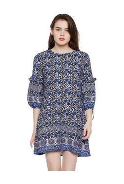 Oxolloxo Off White & Blue Floral Print Above Knee Dress