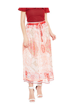 Oxolloxo Off White & Red Printed Midi Skirt