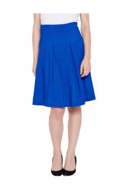 Oxolloxo Blue Cotton Knee Length Skirt