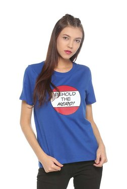 People Blue Cotton Short Sleeves T-Shirt