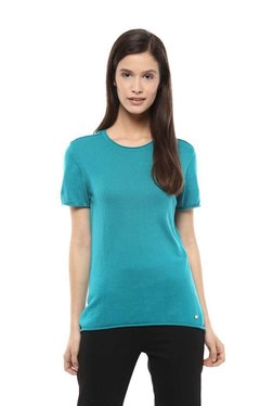 Allen Solly Turquoise Cotton Short Sleeves Top