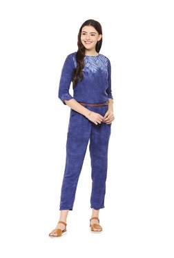 0133c2e85862 People Blue Printed Jumpsuit