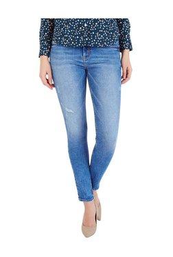 Allen Solly Denim Blue Cotton Distressed Jeans
