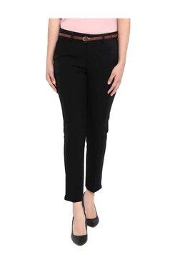 Van Heusen Black Cotton Flat Front Trousers