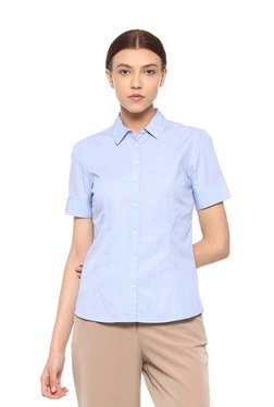 Van Heusen Sky Blue Cotton Short Sleeves Shirt
