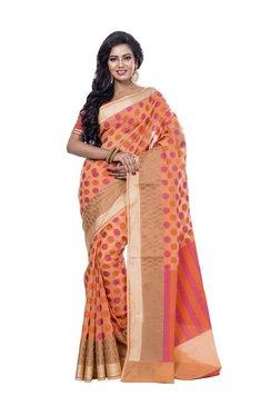 Bunkar Orange Polka Dots Saree With Blouse