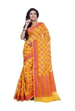 Bunkar Yellow Polka Dots Saree With Blouse