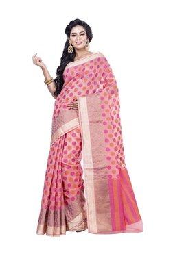 Bunkar Pink Polka Dots Saree With Blouse