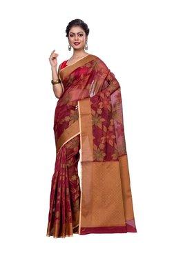 Bunkar Maroon Floral Print Saree With Blouse