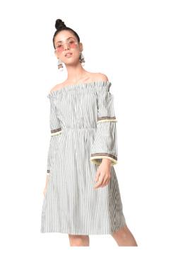Bohobi Green Striped Knee Length Dress
