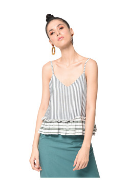 Bohobi Green Striped Peplum Top