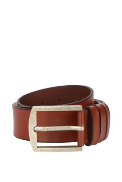 Peter England Brown Solid Leather Narrow Belt