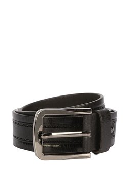 Peter England Black Stitched Leather Narrow Belt
