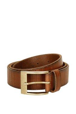 Peter England Brown Textured Leather Narrow Belt