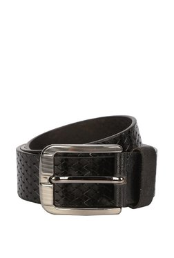 Peter England Black Interlaced Leather Narrow Belt
