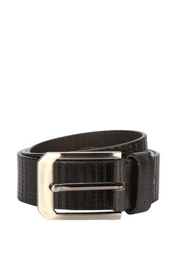 Peter England Black Stitched Leather Narrow Belt - Mp000000003877208