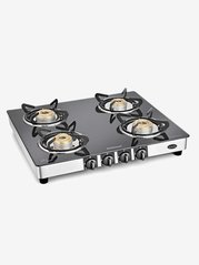 Sunflame Diamond SS 4 Burners Gas Stove (Black/Silver)