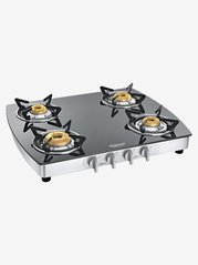 Sunflame Crystal Plus Dx SS AI 4 Burners Gas Stove (Black/Silver)