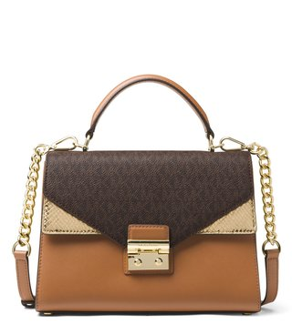 d8ca21b06372 MICHAEL Michael Kors Logo Brown, Acorn & Gold Sloan Cross Body Bag ...