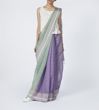 Taneira Lilac & Green Bengal Jamdani Silk Cotton Saree