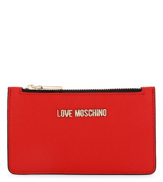 Love Moschino Lettering Rosso Small Coin & Card Case