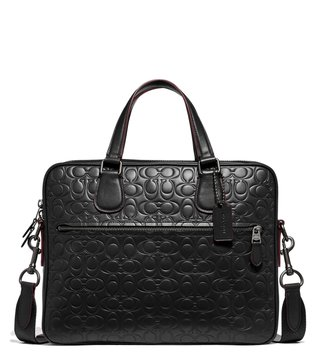 Coach Black Hudson 5 In Signature Leather Briefcase