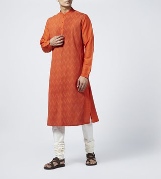 Rajesh Pratap Singh Orange Chevron Pintuck Kurta