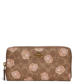 Coach Tan Signature Rose Print Accordion Zip Wallet