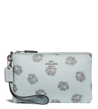 Coach Silver Skyroseprint Medium Wristlet