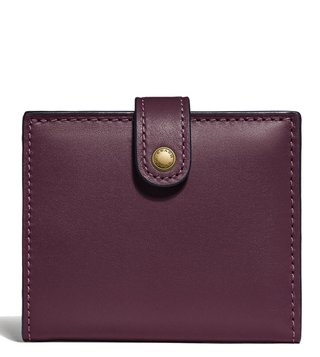 Coach Plum Glovetan Leather Small Trifold Wallet